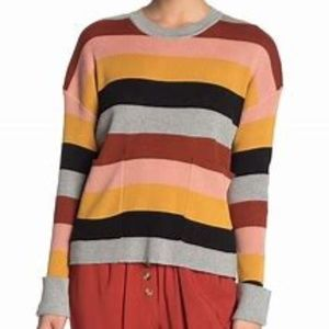 ELODIE STRIPED PATCH POCKET PULLOVER SWEATER